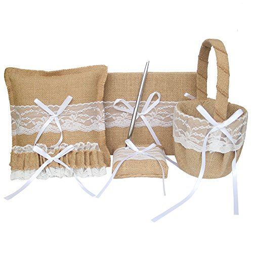 ARKSU 5pcs Wedding Sets Flower Girl Basket + Ring Bearer Pillow + Guest Book Pen + Pen Set Holder + Bride Garter Rustic Bridal Wedding Shower Ceremony Anniversary