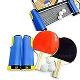 Bocotoer - Juego de ping-pong portátil, retráctil, juego de tenis de mesa para niños y adultos, juego de 2 murciélagos, 3 bolas, 1 red, 1 bolsa