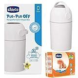 CHICCO Kit de démarrage à partir de la naissance : poubelle à couches ODOUR OFF + Couches CHICCO Mini Taille 2 (3-6 kg) argent – système anti-odeurs – sacs classiques.