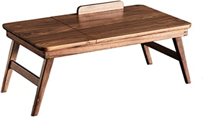 Coffee Table Bed Laptop Table Solid Wood Simple Folding Small Table Rectangular Bay Window Table Tables (Color : Brown, Size : 65 * 35 * 28cm)