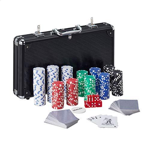 Relaxdays 10031552 Pokerkoffer, 300 Pokerchips ohne Wert, 2 Kartendecks, 5 Würfel, Dealerbutton, abschließbar, Aluminium, schwarz