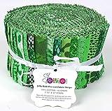 Soimoi 40Pcs Tie & Dye Imprimir Telas De Algodón Precortadas Para Acolchar Las Tiras De Artesanía 2.5 X 42 Pulgadas Rollo De Jalea - Verde-Za