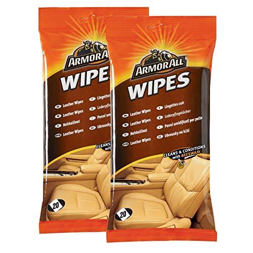 Toallitas para cuero Armorall con cera de abeja que limpian y protegen, el paquete incluye 2 bolsas de 20 toallitas