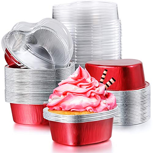 100 Sets Aluminum Foil Cake Pan Heart Shaped Cupcake Cup with Lids 100 ml/ 3.4 ounces Disposable Mini Cupcake Cup Flan Baking Cups Pan with Lid for Valentine Mother's Day Wedding Christmas Birthday