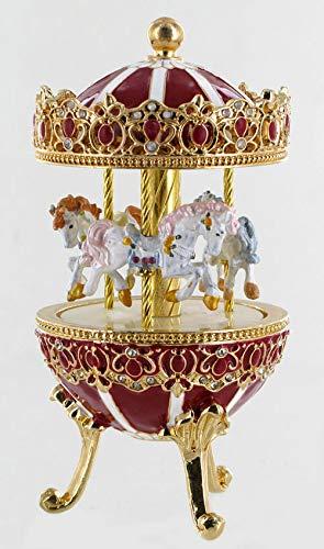 Boîte à musique en forme d'oeuf musical de style Fabergé en métal avec chevaux de carrousel (Réf: 15026) - La flûte enchantée (W. A. Mozart)