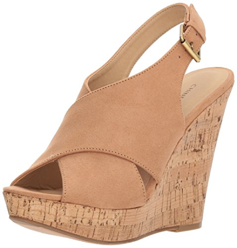 Chinese Laundry Women's Myya Micro Suede Wedge Sandal, Camel Suede, 8 M US