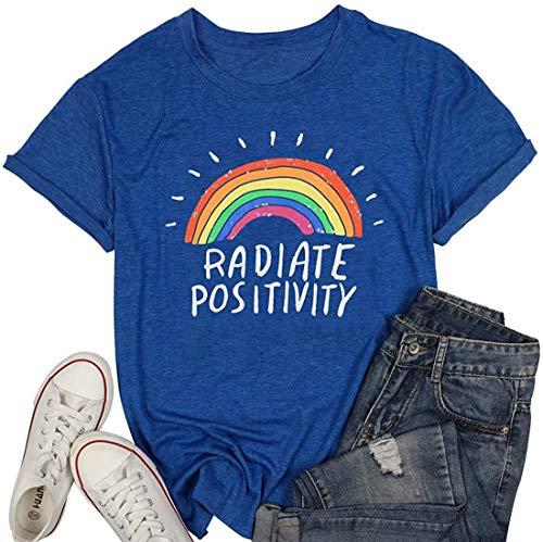 Nobranded Divertida camiseta de manga corta para mujer, diseño de arco iris, con estampado de letra arcoíris