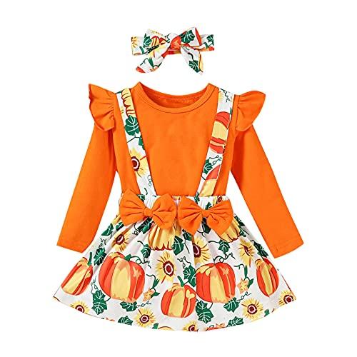 BIBOKAOKE Kinder Baby Mädchen Kleidung Set mit Stirnband Langarm Fliegenhülse Top + Halloween-Cartoon-Kürbis-Druck Hosenträger Rock Soft Casual 3 Stück Outfits Kind Freizeitanzug für 0-4