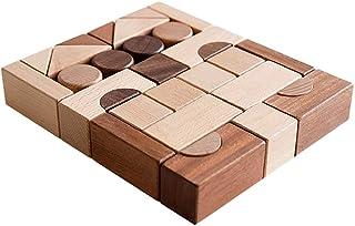 Wooden Building Blocks Toy Sets, 30 Pcs Stacking Game Toys with Storage Bag/Castle Building Planks Set for Kid Kindergarten