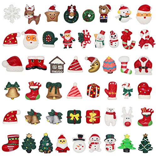 Annhao 50 Pezzi di Mini Decorazione Natalizia Miniatura di Resina di Natale Babbo Natale, Alce, Albero di Natale, Natale DIY Artigianato, Decorazioni di Regalo, Pacco, Biglietti d'Auguri