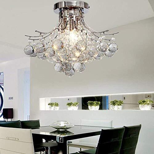 Binnen kroonluchter van kristalglas, plafondlamp, 3 lampen K9, kristalhelder, regendruppels, zilver, modern, plafondlamp, plafondlamp, plafond, kristal, E14, fitting