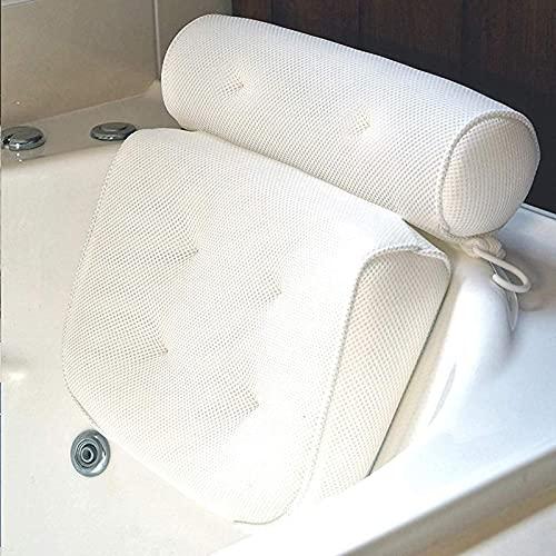 Cojín para bañera y spa con tecnología de malla de aire 4D y 6 ventosas. Función de apoyo para la cabeza, la espalda, los hombros y el cuello. Adecuado para bañeras y spas en casa.