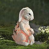 LA JOLIE MUSE Gartenfigur - Mutter & Baby Kaninchen mit Solar LED-Lichtern für draußen und drinnen, Dekoration Ostern, Deko für die Terrasse Garten Balkon, Geschenk, 15.5*24.5 cm