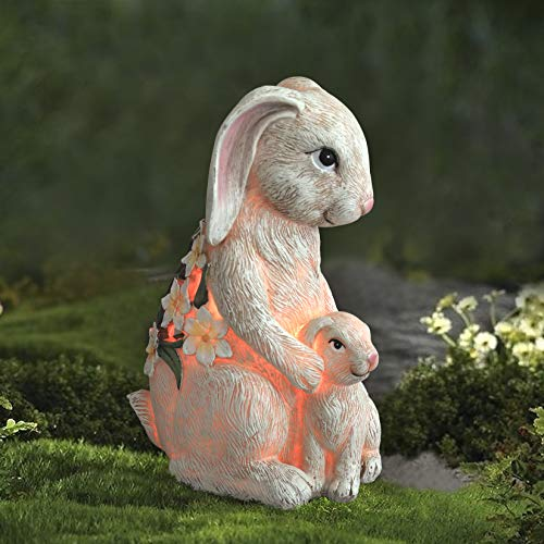 Garden Statue Bunny Figurine - Mom & Baby Rabbit with Solar Color Changing LED Lights for Outdoor...