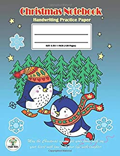 Handwriting Practice Paper Christmas Notebook: Writing Paper for kids with Dotted Lined,ABC Kids. Ver10: The Little Penguin Christmas Cover.