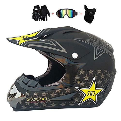 YUCARAC Casco Adulto per Motocross Casco Moto MX Casco ATV Casco ATV D.O.T Certificato Rockstar Multicolore con Occhiali Maschera Guanti,M