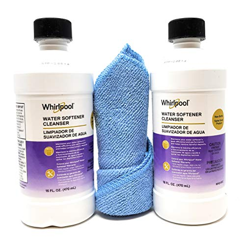 Tesadorz Microfiber Towel and Whirlpool Water Softener Cleanser Formula 16oz, Pack of 2