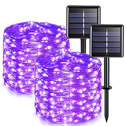 JMEXSUSS Purple Solar String Lights Outdoor Waterproof 2 Pack 33ft 100 LED Solar Fairy Lights 8 Modes Silver Wire Decoration Solar Christmas Lights for Patio Yard Tree Garden Wedding Party Halloween