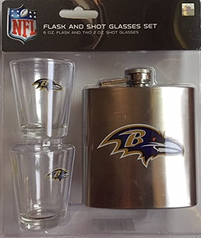 Baltimore Ravens Shot Glasses and Brushed Stainless Steel Flask Set