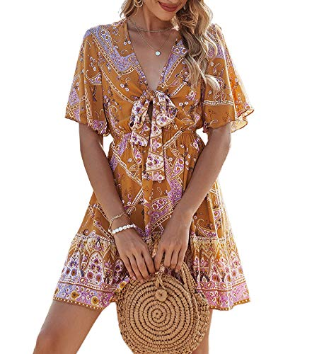 GOROLDA Women Casual Dress Romantic Print Bowknot Sexy V-Neck Short-Sleeveed Elastic Waist Mini Dress