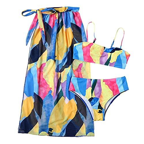 WOTEG Traje de baño de 3 piezas, diseño sexy para verano, para la playa, bikini de tres piezas de malla dividida