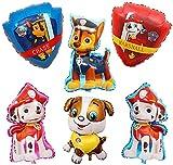 FGen 6pcs Foil Cumpleaño Balloons, Decoraciones para Fiesta De CumpleañOs, Paw Dog Patrol Party Decorations Supplies,Juego De Decoración De Cumpleaños, Decoración De Feliz Cumpleaños