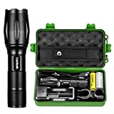 Led Super Bright Flashlight, Ledeak 1200 High Lumens CREE XML-L2 Powerful Torch, 5 Modes Zoomable Waterproof Flashlight with USB Charger, Rechargeable Battery, Bicycle Mount, Flashlight Holster