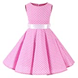 Little Girls Summer Swing Casual Clothes Pink 50s Vintage Floral Polka Dot Dress 3-4 Years(3014-110)