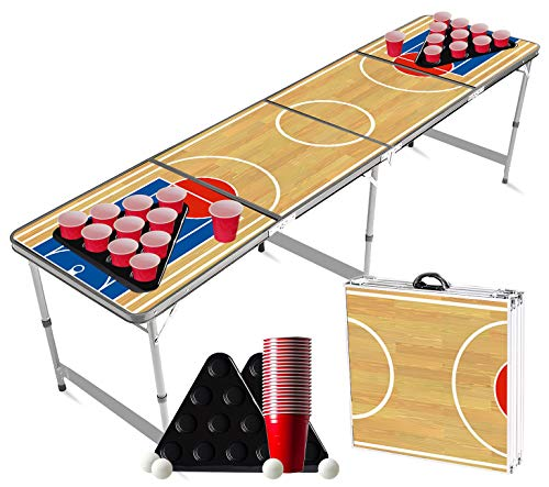 Offizieller Basketball Beer Pong Tisch Set | 1 Tisch-Bier-Pong-Tisch + 2 Gestelle + 22 rote Becher + 4 Bälle | Offizieller Tisch | Trinkspiel | OriginalCup®