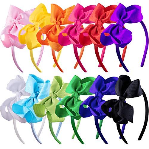 SIQUK 12 Stück Haarreifen mit Schleife für Mädchen Sachleife Haarreif Stirnband, 12 Farben