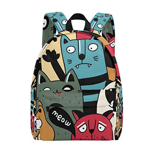 Cat Wacky Expressions Kid's Backpacks Rucksack Student School Book Bags