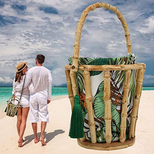 chengong Handgemachte Bambus Quasten Frauentasche, modische schöne Bambus gewebte Tasche, neuartige einfache Bambus gewebte Handtasche, für Beach Party Daily Dress Swimming Pool(Bamboo Bag)