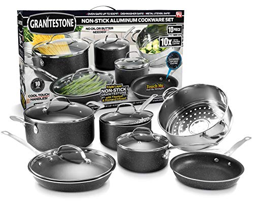 GRANITESTONE 10 Piece Cookware Set, Scratch-Proof, Nonstick Granite-Coated, PFOA-Free As Seen On TV, Charcoal (2228)