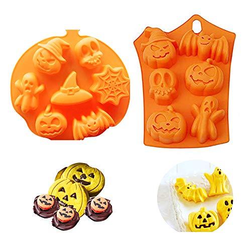 Homo Trends - Moldes de silicona para hornear, 2 unidades, diseño de calabaza de Halloween