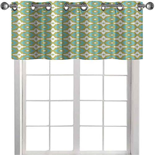 Cortinas opacas cortas con cenefa en forma de flores, color pastel, estilo azulejo de cerámica adornado y patrón de mosaico, 106,7 x 45,7 cm, cortina opaca para cocina, color caqui y turquesa
