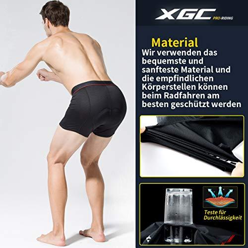 Herren Radunterhose Radsportshorts Fahrradhosen mit elastische atmungsaktive 3D Gel Sitzpolster mit Einer hohen Dichte (Black, XXL) - 4