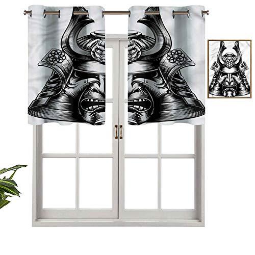 Hiiiman Cortinas con ojales con aislamiento trmico para oscurecimiento de la habitacin, mscara de Samurai, juego de 1, 106,7 x 45,7 cm para dormitorio, bao y cocina