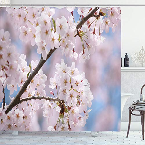 Ambesonne Spring Shower Curtain, Floral Tree Branches Cherry Blossoming