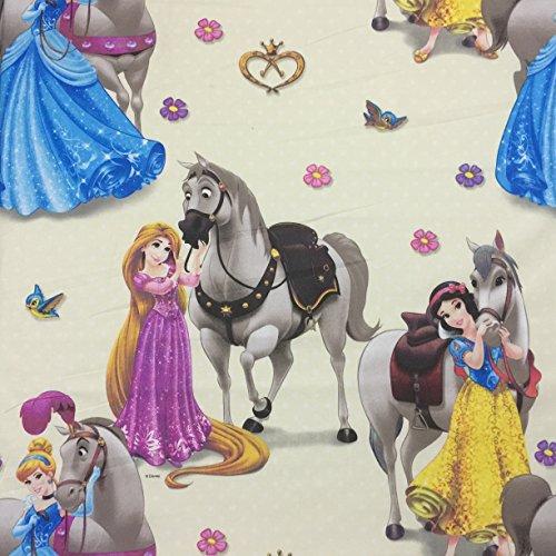 Lizenziertes Disney-Prinzessinnen-Design, hochwertig, 100prozent Baumwolle, fein gewebt Children's Duschvorhang aus Stoff, 140 cm breit, Meterware
