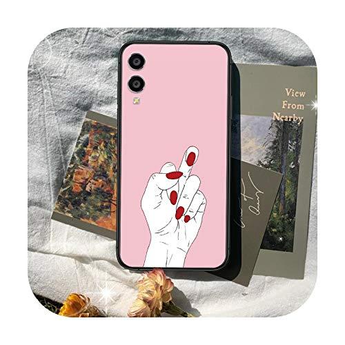Funda de teléfono con gesto rosa para Huawei Honor 7a 8 8s 8a 8x 9 9x 10 20 i Lite Pro de la Celda Negra Impermeable Suave Shell-11-Honor 10 Lite