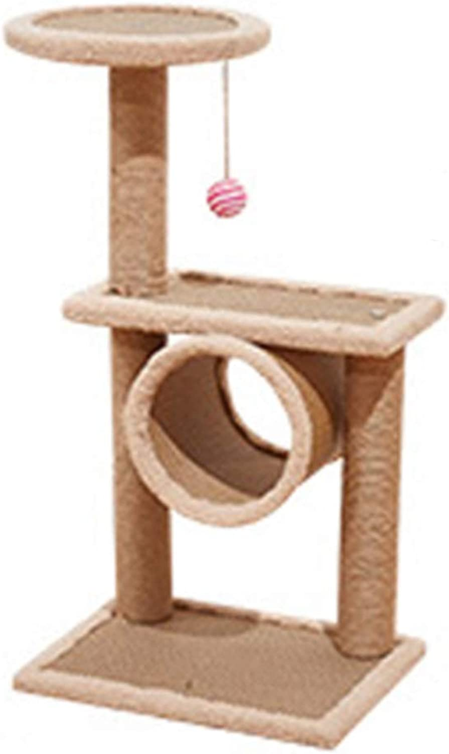 LXHONG Cat Climbing Frame Tree And Tower Solid Wood Bracket Structure Grab Board Toy Jump Platform, 3 Sizes (color   Yellow, Size   40x35x75cm)