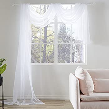 KEQIAOSUOCAI White Sheer Window Scarf Valance Sheer Fabric for Draping Curtain Toppers for Wedding Party Girls Room Bed Canopy Scarves 52 Inches Wide by 216 Inches Long White