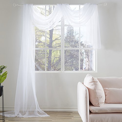 KEQIAOSUOCAI White Sheer Window Scarf Valance Sheer Fabric for Draping covid 19 (Scarf Valance Curtain coronavirus)