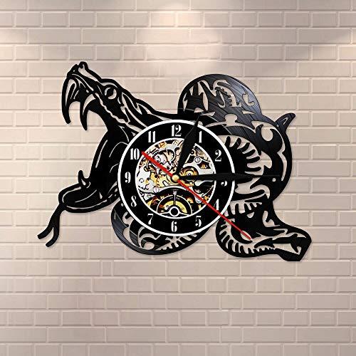 BFMBCHDJ Wildlife Animal Snake Tribal Black Retro Reloj de Pared Hecho de Vinilo Record Serpent Cut out Reloj de Pared Reptile Lovers Gift con LED 12 Pulgadas