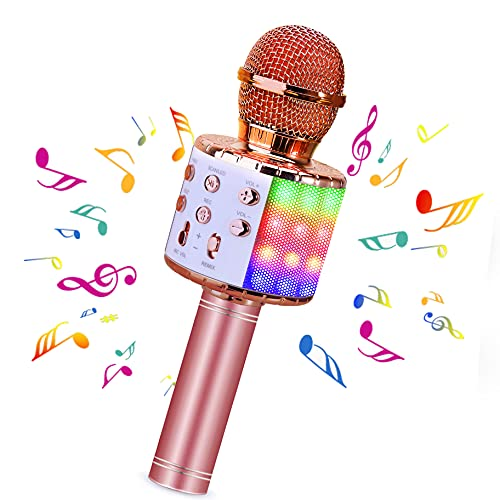 BlueFire Wireless 4 in 1 Bluetooth Karaoke Microphone with LED Lights, Portable Microphone for Kids, Best Gifts Toys for 4 6 8 10 12 Year Old Girls Boys (Pink)
