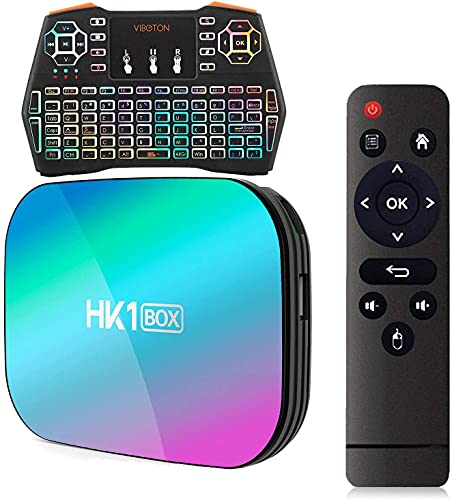 Android TV Box 9.0 Amlogic S905X3 64-bit Quad Core Cortex-A55 CPU Smart TV Box con mini teclado inalámbrico retroiluminado USB 3.0 Ultra HD 4K 8K HDR WiFi de doble banda 2.4GHz 5.8GHz(Color:4+32g)