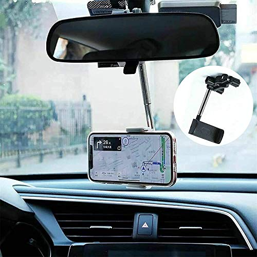 360° Universal Rearview Mirror Phone Holder, 2 in 1 Car Air Vent/Rearview Mirror Mount, Car Rearview Mirror Mount Phone and GPS Holder, for 4.0-6.1 inch Mobile Phones
