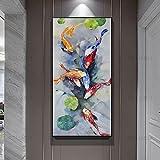 Gedruckt auf Leinwand Koi Fisch Lotus Poster Malerei