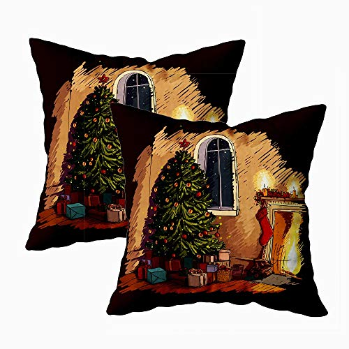 Jacrane Merry Christmas Pillow Covers 18X18 Set of 2,Cozy Christmas Eve Scene in The Interior Fireplace Tree Presents Farmhouse Christmas Decoration for Home Deor