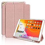 iPad 10.2 ケース 第7世代 [ペンシルホルダー付き] 2019モデル 保護カバー 軽量 薄型 三つ折 スタンド機能 傷つけ防止 耐衝撃 [iPad 10.2/iPad Air3/Pro 10.5と一緒に使用可能] (ローズゴールド)